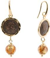 Made In Italy Gold Plated Coin Murano Glass Drop Earrings