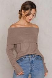 Offshoulder Folded Wide Sweater