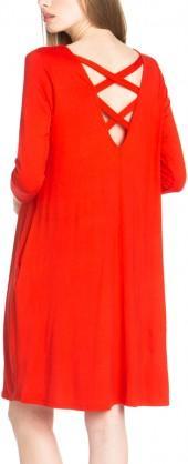 Tomato Cross-Back Shift Dress