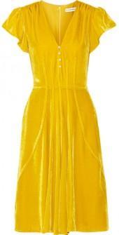 Altuzarra - Amilla Faux Pearl-embellished Velvet Dress - Saffron