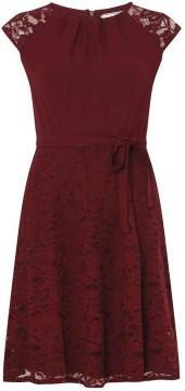 **Billie & Blossom Mulberry Red Lace Skater Dress