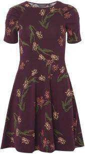**Tall Floral Print Ruched Sleeve Skater Dress