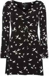Black Swallow Print Tea Dress