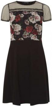 Black and Red Floral Print Mesh Top Skater Dress