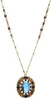 Carolee Rhinestone Pendant Long Necklace
