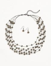 dressbarn Layered Beaded Necklace and Earring Set