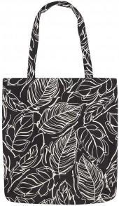 Black Leaf Print Canvas Shopper Bag