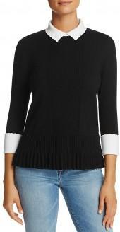 Tory Burch Sabina Collared Merino Wool Sweater
