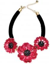 kate spade new york Gold-Tone Enamel & Velvet Poppy Statement Necklace