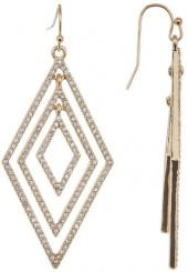 Jessica Simpson Crystal Diamond- Shaped Drop Earrings