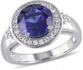 9.0mm Lab-Created Blue and White Sapphire Frame Tri-Sides Ring in Sterling Silver