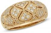 1/2 CT. T.W. Certified Diamond Vintage-Style Dome Ring in 14K Gold (I/I2)