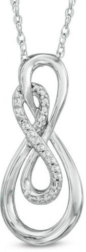 Diamond Accent Double Infinity Pendant in Sterling Silver