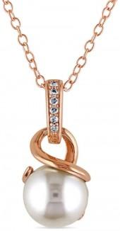 8.0 - 8.5mm Cultured Freshwater Pearl and Diamond Accent Pendant in Rose Rhodium Sterling Silver