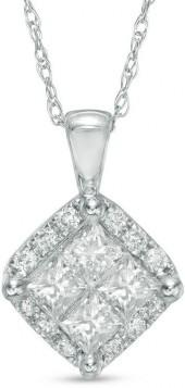 1/2 CT. T.W. Quad Princess-Cut Diamond Frame Pendant in 14K White Gold