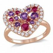 Ruby, Amethyst and White Topaz Heart Ring in Rose Rhodium Sterling Silver