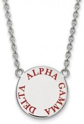 "Red Enamel ""Alpha Gamma Delta"" Sorority Necklace in Sterling Silver"