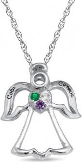 Mother's Simulated Birthstone Angel Pendant in Sterling Silver (3 Stones and 2 Lines)