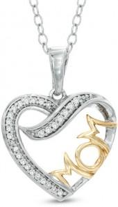 "Diamond Accent Heart with ""MOM"" Pendant in 10K Two-Tone Gold"