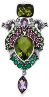 Nicky Butler 18.61ctw Multigemstone Sterling Silver Peacock Shield Pin/Pendant