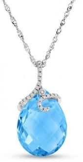 Briolette Blue Topaz and 1/10 CT. T.W. Diamond Curl Pendant in 18K White Gold