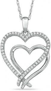 1/7 CT. T.W. Diamond Double Heart Pendant in Sterling Silver