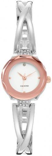 Women's Diamond Crisscross Two Tone Half Bangle Watch