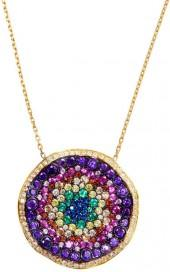Sphera Milano 18K Gold Plated Sterling Silver CZ Accented Rainbow Wave Circle Pendant Necklace