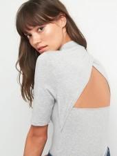 Open-back mockneck bodysuit