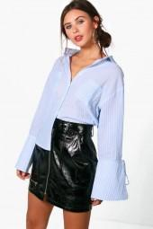 boohoo Petite Lola Stripe Tie Cuff Shirt