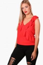 boohoo Plus Felicity Ruffle Wrap Top