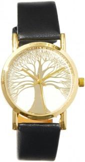 Black & Goldtone Tree Bracelet Watch