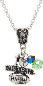 Navy & Green 'I Heart Football' Charm Necklace