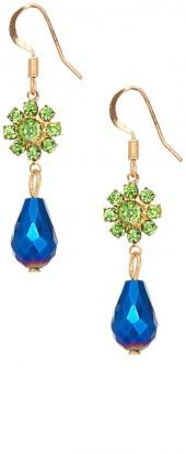 Blue & Green Rhinestone & Goldtone Sunburst Drop Earrings