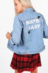 boohoo Petite Emma Oversized Slogan Back Denim Jacket