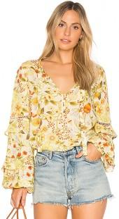 Spell & The Gypsy Collective Sayulita Blouse in Yellow. - size Aus 10/US M (also in Aus 12/US L,Aus 6/US XS,Aus 8/US S)