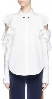 Comme Moi Collar link ruffle cold shoulder poplin shirt