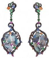 Wendy Yue Diamond opal gemstone 18k white gold cutout leaf drop earrings
