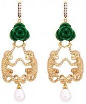 Wendy Yue Diamond gemstone jade stud monkey pearl drop earrings