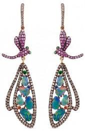 Wendy Yue Diamond gemstone 18k rose gold dragonfly drop earrings