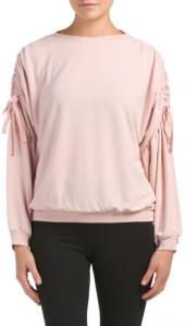 Blouson Shirred Sleeve Sweatshirt