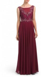 Sleeveless Gown With Lace Detail