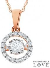 """Unstoppable Loveâ""""¢ 1/4 CT. T.W. Diamond Frame Pendant in 10K Rose Gold"""
