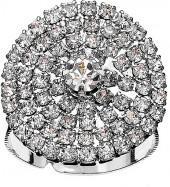 Silvertone & Crystal Pavé Round Signet Ring
