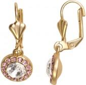 Gold & Rose Halo Drop Earrings With Swarovski® Crystals
