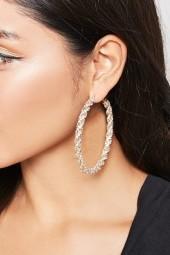 FOREVER 21 Twisted Rhinestone Hoop Earrings
