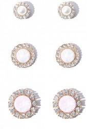 FOREVER 21 Iridescent Stone Stud Earring Set