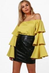 boohoo Felicia Ruffle Sleeve Bardot Top