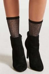 FOREVER 21 Metallic Fishnet Ankle Socks
