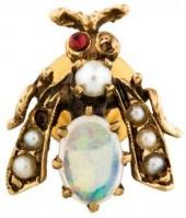 14K Pearl, Garnet & Opal Insect Pin